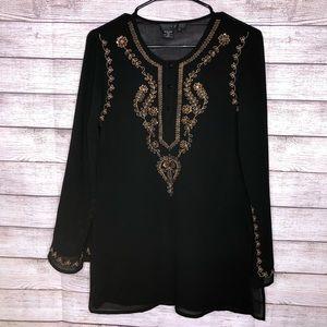 Ninety Black BOHO Peasant Embellished Shirt Size M